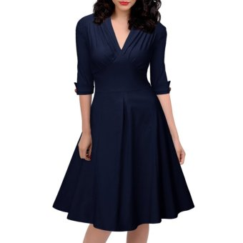 Hepburn European and American New style deep expandable dress