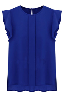 Hequ Flounced Sleeve Office Lady Chiffon Blouse (Blue) (EXPORT)