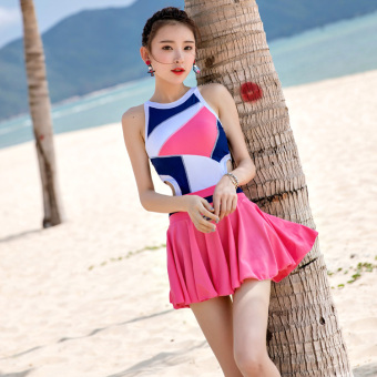 Hot Spring women one-piece skirt slimming swimming clothing swimsuit (Pink) (Pink)