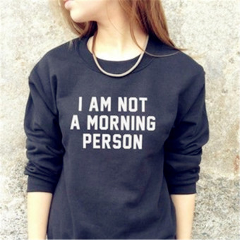 I am European and American New style lettered printed long-sleeved hoodie (Black) (Black)