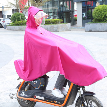 Jiagaomei electric car single person adult bike poncho motorcycle raincoat ((Thick section double hat) Electric Bicycle/bike universal-Rose) ((Thick section double hat) Electric Bicycle/bike universal-Rose)