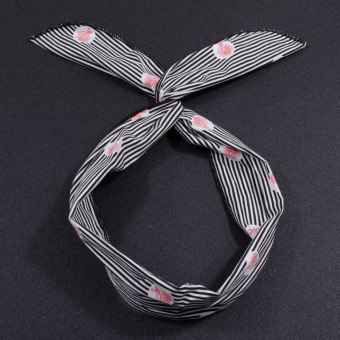 Jianyue striped polkadot wire hair bands (Black white striped rose black and white cotton)