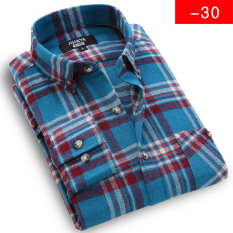 JIHAYE Korean-style brushed plaid shirt casual cotton shirt (1129-30)