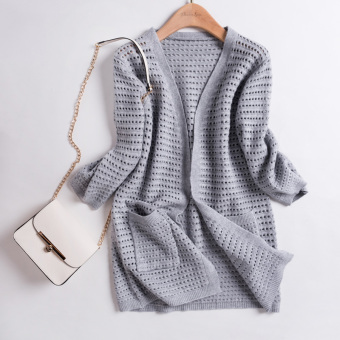 Korean-style autumn mid-length knitted shirt (Gray)