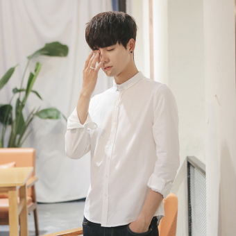 Korean-style autumn New style men's long-sleeved shirt (White)