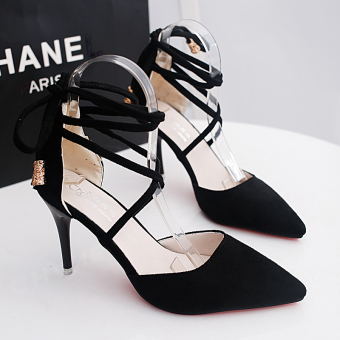 Korean-style autumn New style suede high-heeled shoes (Black)