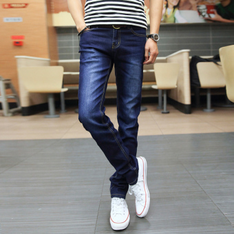Korean-style autumn New style Teenager stretch pants men's jeans (817 paragraph dark blue color)
