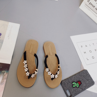 Korean-style beaded bracelet female New style flat sandals flip-flops (Black)
