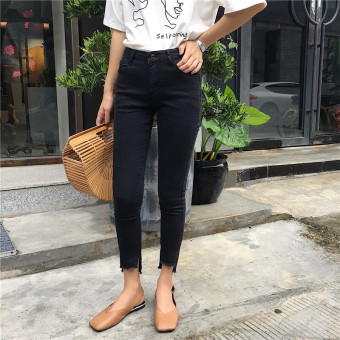 Korean-style black ankle-length irregular raw-cut jeans