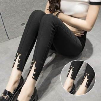 Korean-style Black Summer New style pants leggings (Black (beaded New style)) (Black (beaded New style))
