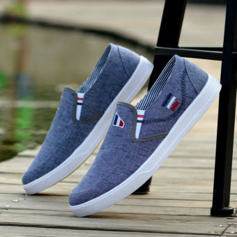 Korean-style breathable tide shoes New style men's (42 + Blue)