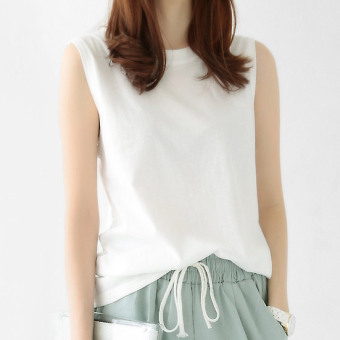 Korean-style cotton long section loose Top T-shirt (White) (White)