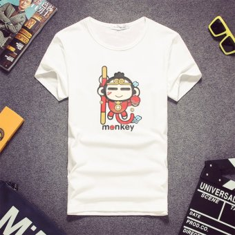 Korean-style cotton summer Short sleeve men Slim fit short-sleeved t-shirt