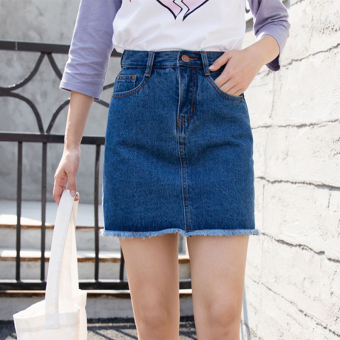 Korean-style denim summer female a word skirt half-length skirt (Dark blue color)