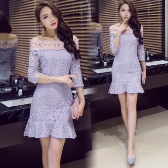Korean-style elegant horizontal neck flounced printed chiffon dress