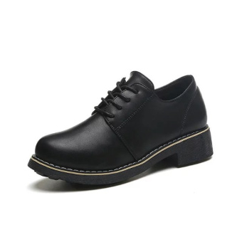 Korean-style female lace thick bottomed women's shoes retro small leather shoes (Black)