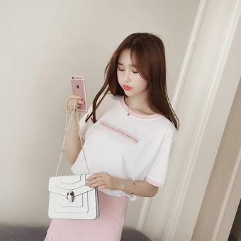 Korean-style female loose student Top T-shirt (Pink)