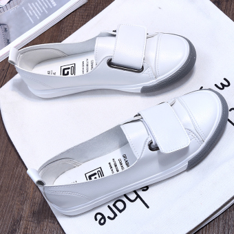 Korean-style female New style a pedal white shoes shallow mouth canvas shoes (White) (White)