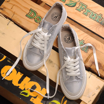 Korean-style female New style small all flat canvas shoes Shoes (Light gray)
