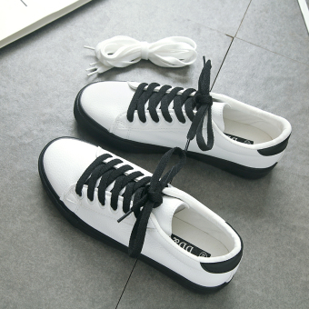 Korean-style female spring New style casual shoes white shoes (Black)