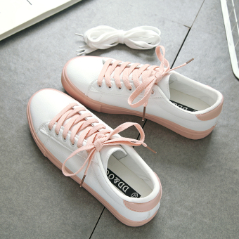 Korean-style female spring New style casual shoes white shoes (Pink)