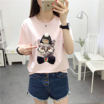 Korean-style female student New style small shirt LOOESN short sleeved t-shirt (Pink)