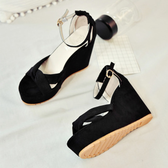 Korean-style female thick bottomed muffin high-heeled shoes sandals (Black)