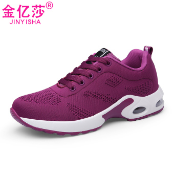 Korean-style female thick bottomed shoes mesh I casual shoes (1727-2 dense network of purple)
