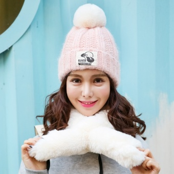 Korean-style hat women's autumn and winter knitted hat warm wool cap (Pink (HAT + scarf))