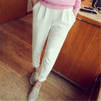 Korean-style high-waisted slimming thin ankle-length pants casual pants (White)
