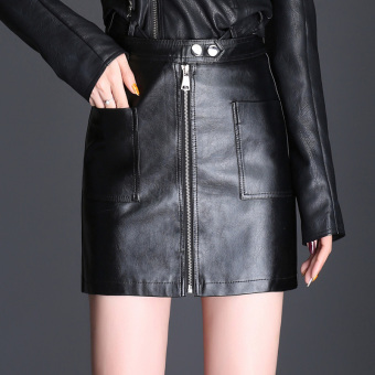 Korean-style Leather slimming word sheath half-length skirt leather skirt