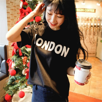 Korean-style letter loose casual short-sleeved t-shirt
