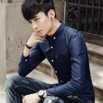 Korean-style men long-sleeved Slim fit models solid color shirt New style shirt (Sapphire blue color)