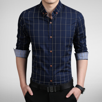 Korean-style men Plus-sized business casual plaid shirt