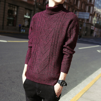 Korean-style men Slim fit pullover thick sweater embroidered sweater (Red Wine)