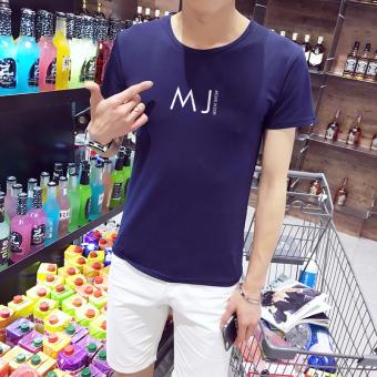 Korean-style men's short sleeved round neck Slim fit T-shirt (Dmj blue (collection of first shipment)) (Dmj blue (collection of first shipment))