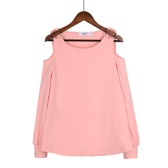 Korean-style New style female horizontal neck loose long-sleeved t-shirt Top (Pink)