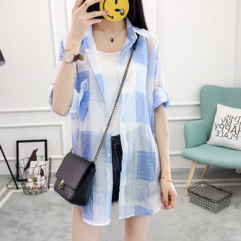 Korean-style New style loose plaid long-sleeved shirt (Blue)