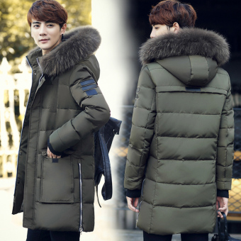 Korean-style New style men's hooded coat (Dark green color)
