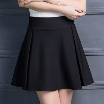 Korean-style New style word base skirt high-waisted skirt (Black) (Black)