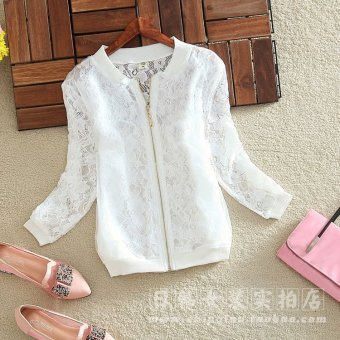 Korean-style round neck Slim fit long-sleeved sun shirt thin coat (White) (White)