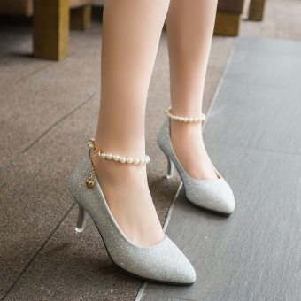 Korean-style sequin spring New style pointed shallow mouth shoes thin heeled high-heeled shoes (Silver)