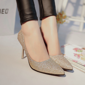 Korean-style Silver Spring New style thin heeled high-heeled shoes (Gold 8 cm)