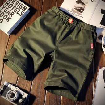 Korean-style sports five pants summer casual pants (K103-dark green color)