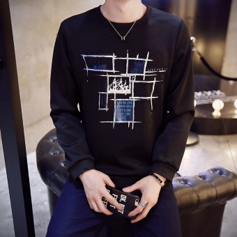 Korean-style Spring and Autumn New style Slim fit round neck pullover hoodie (WY01-black)
