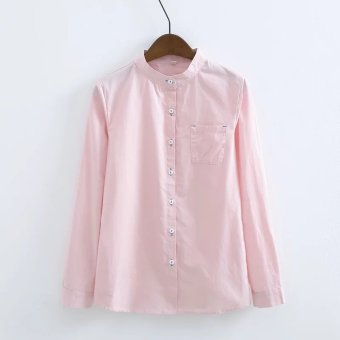 Korean-style spring New style loose white shirt (Pink) (Pink)