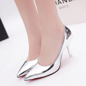 Korean-style spring pointed super high-heeled shoes (Silver (7 cm))