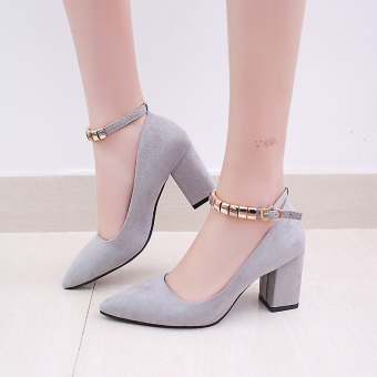 Korean-style suede black spring high-heeled shoes (Gray)