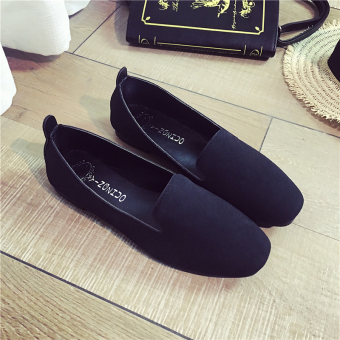 Korean-style suede spring and summer New shallow mouth single shoes (Black)