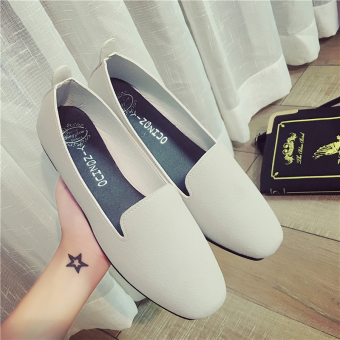 Korean-style suede spring and summer New shallow mouth single shoes (Gray)